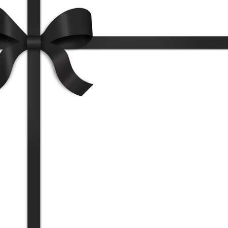 wrap wrapped: Illustration of black satin ribbon, tied with bow on upper left side of frame.  White background provides copy space.