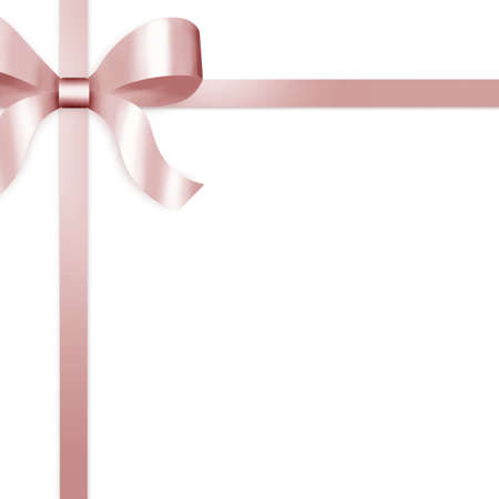 tied girl: Illustration of pale pink satin ribbon, tied with bow on upper left side of frame.   Stock Photo