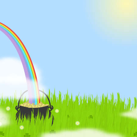 Illustration of a rainbow plunging into a pot of gold coins nestled in tall grass.   illustration
