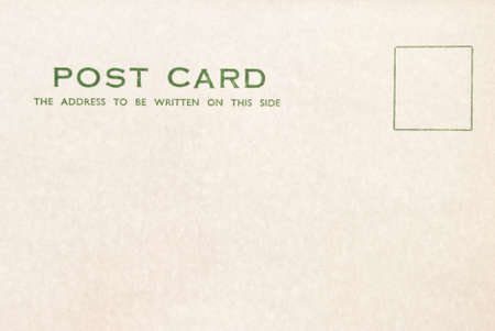 headings: An old blank postcard, slightly mottled with age.  Headings printed in green ink. Stock Photo