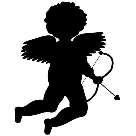 eros: Illustrated black silhouette of Cupid (Eros) in a cherubic or putto style, passively holding his bow, and an arrow with a heart shaped tip.