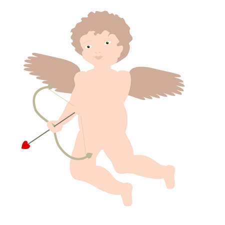 putto: Illustration of brunette Cupid (Eros) in a cherubic or putto style, passively holding his bow.  Stock Photo