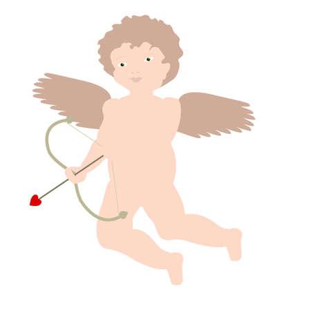 eros: Illustrazione di Cupido bruna (Eros) in un cherubino o stile 'putto', passivamente tenendo il suo arco.