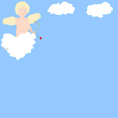 putto: Illustration of a Cupid style cherub, or putto, hovering in a blue sky behind a heart shaped white cloud, waiting to shoot his arrow of love. Stock Photo
