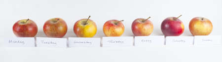 days of week: A horizontal row of seven organic red apples, labelled with the days of the week, to illustrate the motto An apple a day keeps the doctor away.  White background. Stock Photo