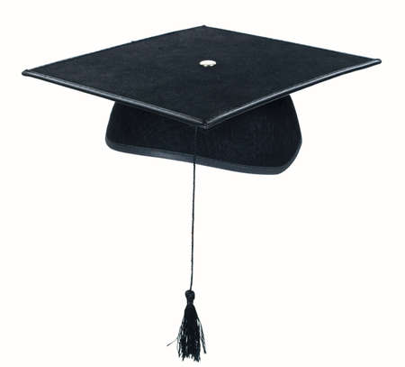 A black mortarboard with hanging tassle, isolated on white background. Stock Photo