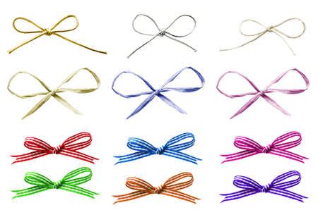 raffia: A selection of various plain and patterned tied bows in a variety of materials, cut out and isolated on white.