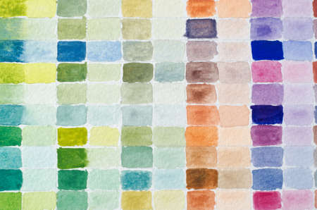 diluted: A filled grid of watercolour paint shades comparing full strength of colour to its diluted equivalent in adjacent columns.