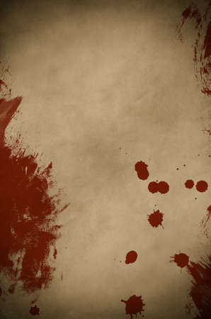 An old, dark piece of parchment paper, splattered and smeared  with red paint to simulate blood.