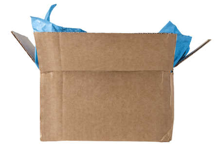 An opened cardboard box with light blue packing tissue exposed, photographed at eye level and isolated on a white background. photo