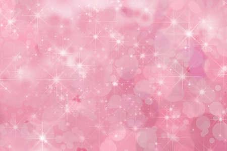 ピンク、きらめく星霧深い雲とボケ味と抽象的な背景で満たされました。 写真素材