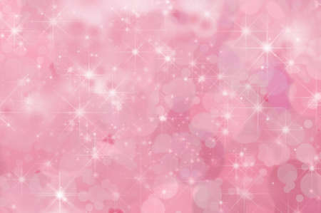 A pink, twinkling star filled abstract background with misty clouds and bokeh.