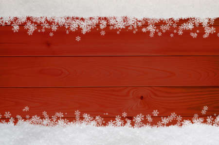 Christmas snow and snowflakes border at top and bottom of red wood planking. photo