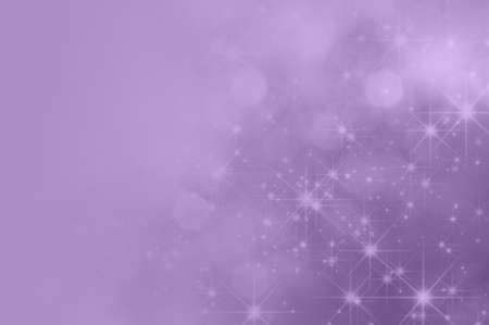 A lilac purple background with bokeh and sparkling stars, fading towards solid colour copy space on the left side.