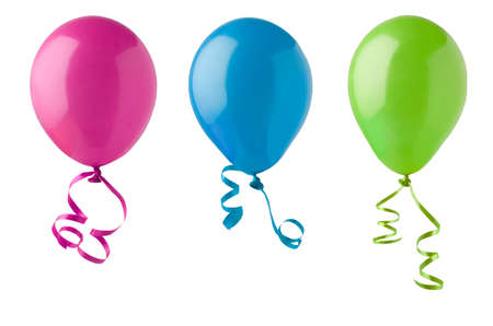 Three party balloons in bright colours of pink, blue and green, tied with twirling ribbon streamers and isolated on a white a background. Stockfoto