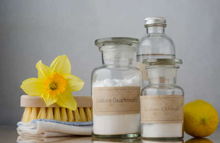 cleaning kitchen: Still life of natural cleaning choices.  Sodium bicarbonate and salt in apothecary jars, white vinegar behind them and a lemon to the right.  A folded cloth and wooden brush on the left are topped with a daffodil to signify Spring cleaning.