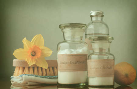 Cross processed still life of natural cleaning choices.  Sodium bicarbonate and salt in apothecary jars, white vinegar behind them and a lemon to the right.  A folded cloth and wooden brush on the left are topped with a daffodil to signify Spring cleaning