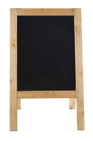 Front view of a freestanding A-frame blackboard, left blank to provide copy space and isolated against a white backkground. photo