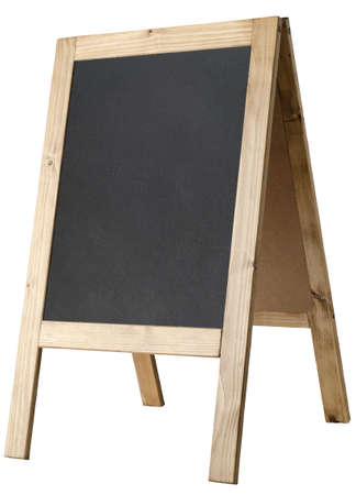 Angled, left facing view of a freestanding A-frame blackboard, board is blank to provide copy space and isolated against a white backkground.