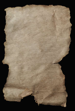 torn edges: Blank paper with torn edges, aged and weathered for ancient parchment scroll effect.