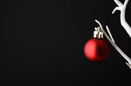 to clasp: One single plain red Christmas bauble with gold clasp hanging from branch of an artificial bare white tree against black background.
