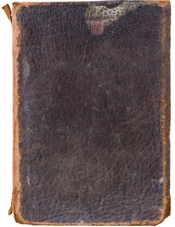 scuffed: Isolation on white pf a very old, used battered, worn and weathered vintage brown leather book cover with scuffed spine, scratches and marks. Stock Photo