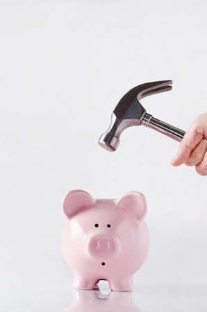 A hand holding a hammer above a pink china piggy bank that has a shocked facial expression, anticipating the smash.  Reflective surface and light grey background. Copy space above.