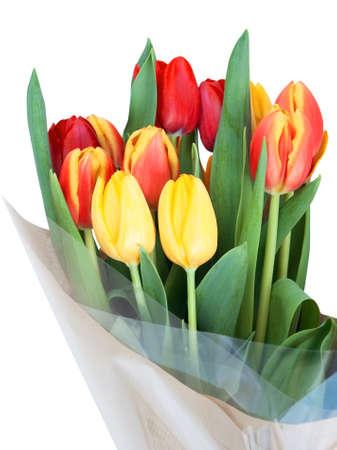 Bouquet of red and yellow tulips with green leaves wrapped in bouquet of red and yellow tulips with green leaves wrapped in cellophane and brown paper mightylinksfo