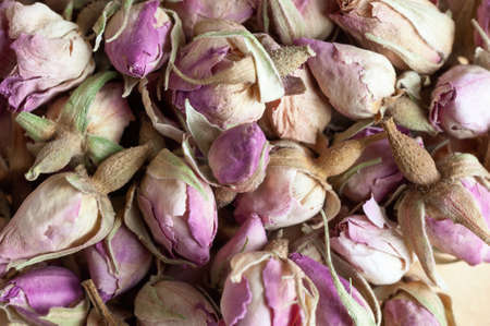 Close up of small, dried pink rosebuds forming a fragrant potpourri background. Foto de archivo