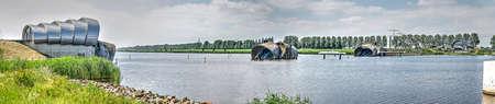 Inflatable barrage (bellow dam) Ramspolstuw near the city of Kampen, The Netherlands