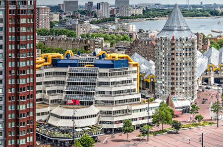Rotterdam, The Netherlands, July 18, 2018: aerial view of the municipal library, completed in 1983 to a design by Van den Broek & Bakema architects