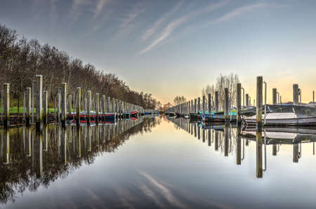 A blue sky with veil clouds, bushes, sloops and mooring poles reflect in the perfectly still water of a marina in winter