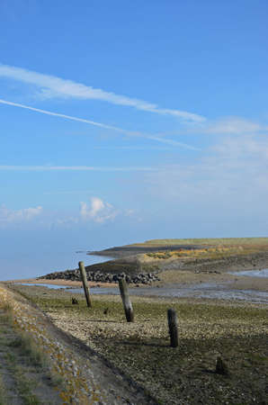 Looking along the coast of Oosterschelde estuary on the island of Noord-Beveland, The Netherlands, with sand, mud, grass, basalt and weathered wooden poles