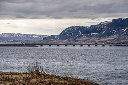 Modern concrete bridge across Borgarfjordur in Iceland, connecting the town of Borgarnes with the capital Iceland
