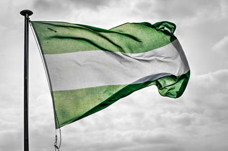 The green-white-green flag of Rotterdam against a cloudy sky on a windy day