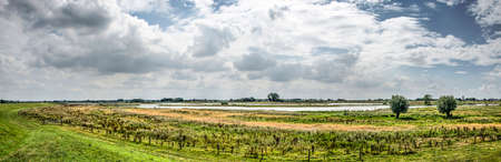 Panoramic view of the floodplains of the river IJssel at Vreugerijkerwaard nature reserve near Zwolle, the Netherlands, under a sky with dramatic clouds