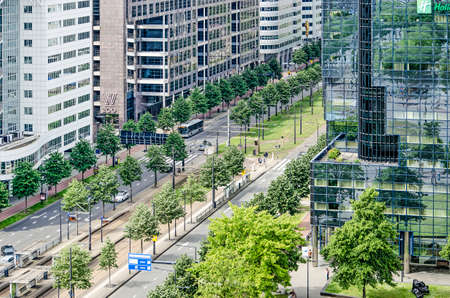 Rotterdam, The Netherlands, June 2, 2019: aerial view of Weena boulevard in Central District, surrounded by architecture from the 1990's