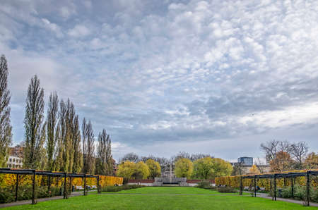 Rotterdam, The Netherlands, November 23, 2019: the Rose Garden in Museumpark under a dramatic sky on a day in autumn
