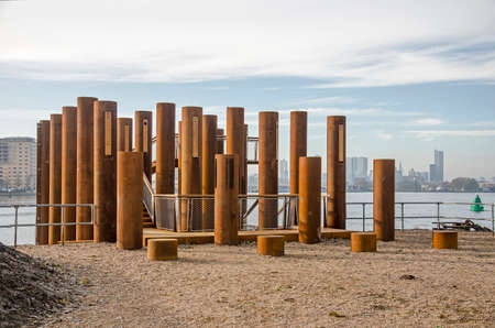 Rotterdam, The Netherlands, November 24, 2019: the new viewing platform on Brienenoord island, designed as a