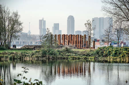 Rotterdam, The Netherlands, November 24, 2019: view form Brienenoord island towards the new corten steel viewing platform and the city's skyline Editorial
