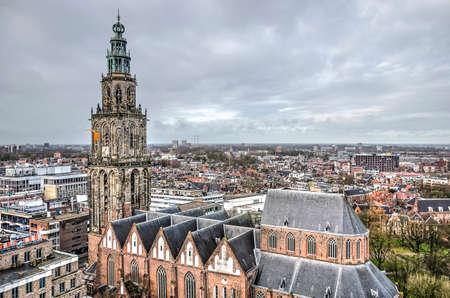 Groningen, The Netherlands, December 7, 2019: view from the roof of the new Forum building towards Saint Martin's church and the northern parts of the town Editorial