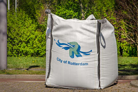 Rotterdam, The Netherlands, April 21, 2020: large sandbag used by the municipality to close off a street as part of covid-19 measures Editorial