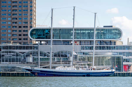 Rotterdam, The Netherlands, May 4, 2020: three-master educational sailing ship moored near modern architecture on Wilhelminapier Editorial