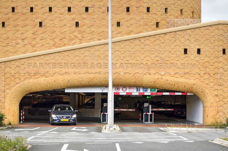 Zwolle, The Netherlands, August 4, 2020: the sculptural entrance and delicate brick facade of the new Katwolderplein parking garage