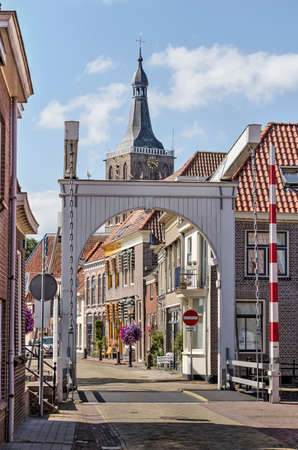 Hasselt, The Netherlands, August 2, 2020: the wooden Sluisbrug (Sluice Bridge) is the southern entrance to the old town