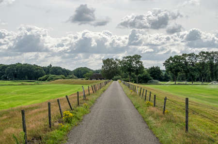 Narrow country road on a dike between meadows and forests near Zwolle in the Netherlands