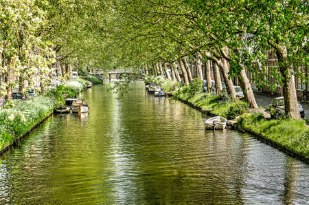 View along the length of Noorder Boerenvaart canal in Enkhuizen, The Netherlands, lined with trees, on a sunny day in springtime