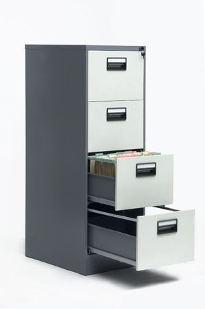 filing document: Filing cabinet open Stock Photo