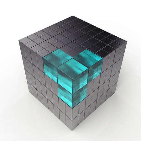 blue metallic background: black 3d futuristic cube