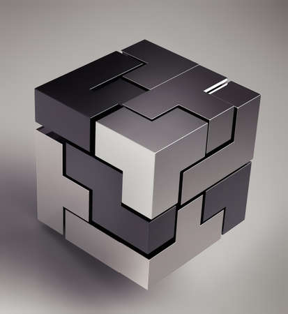 connection block: black 3d futuristic cube